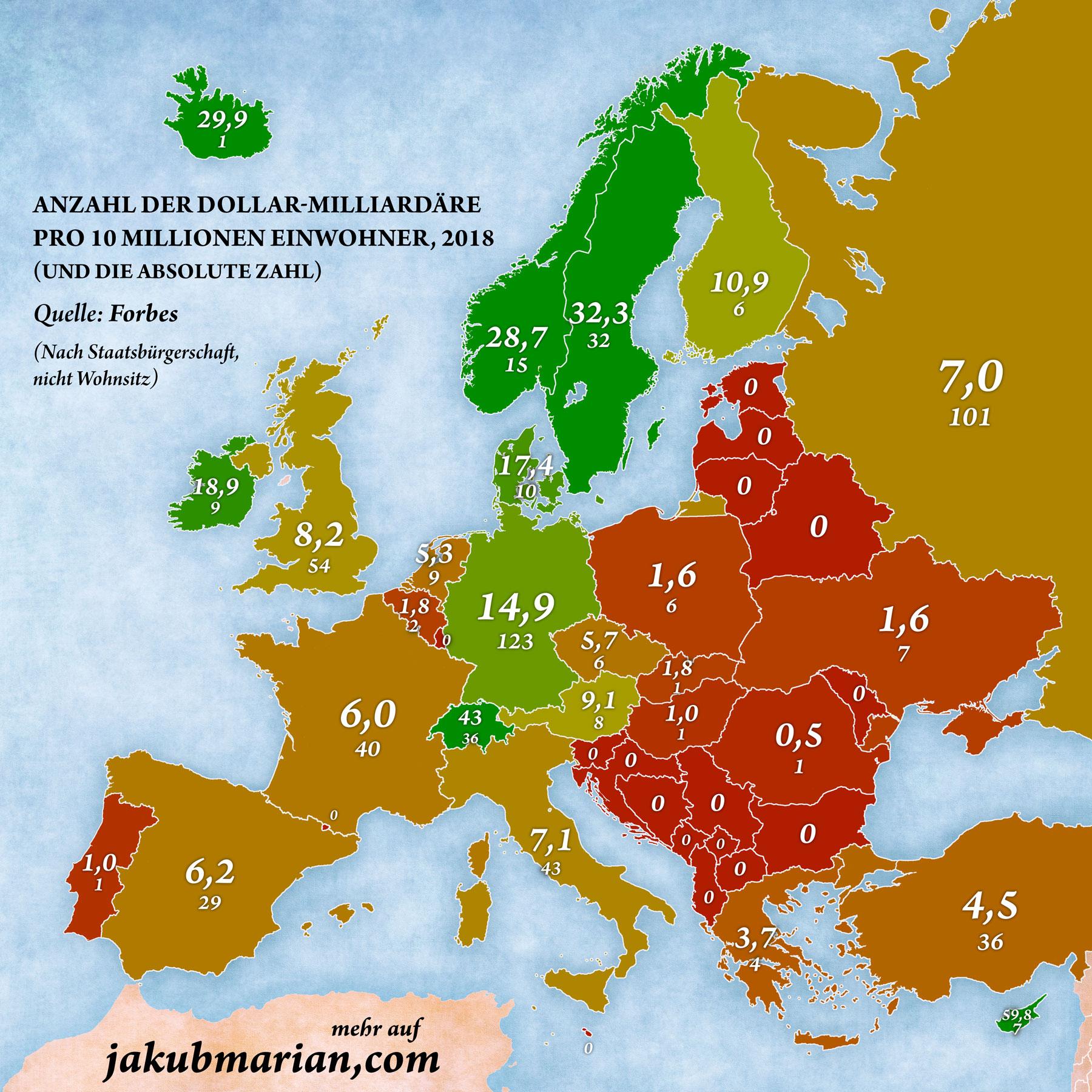 Anzahl der Milliardäre nach Land in Europa