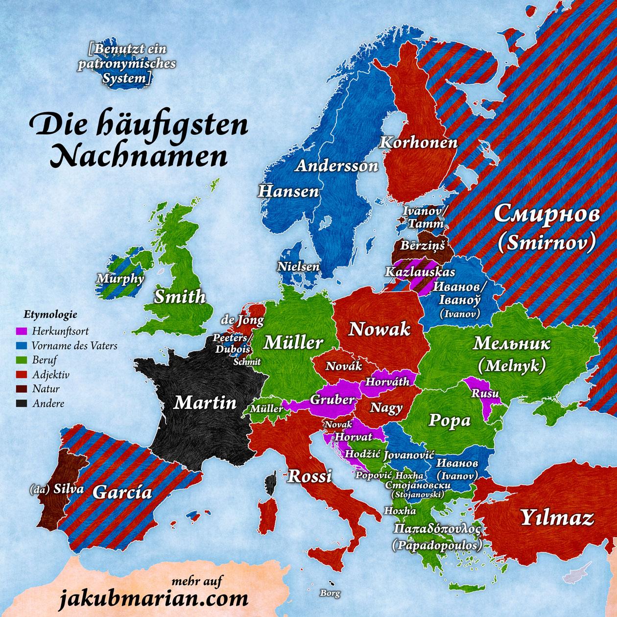 Häufigste Nachnamen Europas