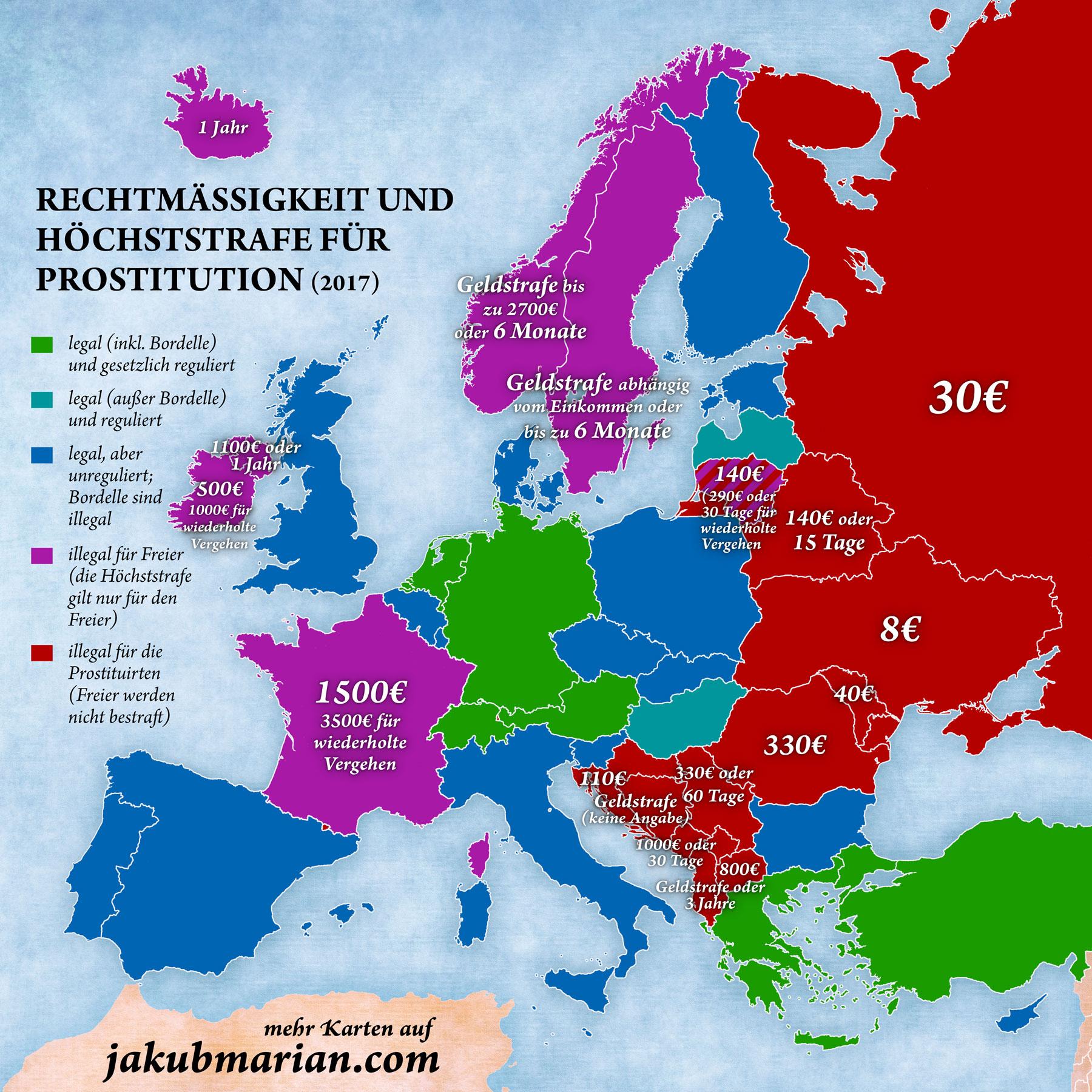 Prostitution Gesetze Europea Karte